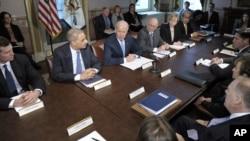 Vice President Joe Biden, center, with Attorney General Eric Holder at left, speaks during a meeting with victims' groups and gun safety organizations in the Eisenhower Executive Office Building on the White House complex in Washington, Wednesday, Jan. 9,