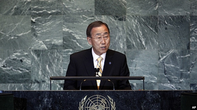 United Nations Secretary-General Ban Ki-moon opens the 66th United Nations General Assembly at U.N. Headquarters in New York, September 21, 2011.