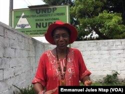 Marie Jeanne Abega, unique femme tête de liste pour les sénatoriales dans la région du centre du Cameroun, le 11 mars 2018. (VOA/Emmanuel Jules Ntap)