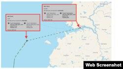 Thông tin hải trình của tàu Việt tín 01. Photo NKNews.