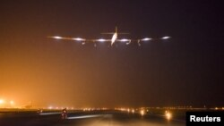 Solar Impulse 2 takes-off for its fourth flight from Varanasi to Mandalay, Myanmar, with Bertrand Piccard at the controls, March 18, 2015.