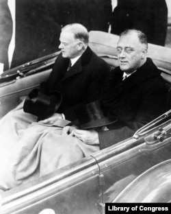 FDR and Herbert Hoover at the 1933 inauguration
