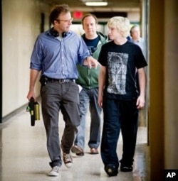 "Director Tom McCarthy, Paul Giamatti and Alex Shaffer on the set of ""Win Win"""