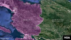 Kat jewografik ki montre peyi Dayiti ak Sen-Domeng