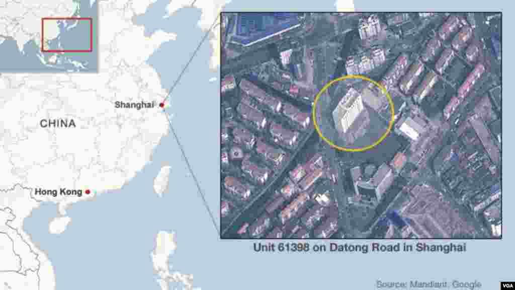 位於上海的被稱為APT1的61398部隊黑客總部的地圖。