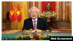 Tổng Bí thư Nguyễn Phú Trọng kêu gọi xóa bỏ cấm vận Cuba.