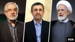 کروبی، احمدینژاد و موسوی در انتخابات سال ۸۸ رقیب بودند.