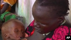 In this photo taken from Video provided by Associated Press on Tuesday, May 13, 2014, a malnourished child is fed by her mother, in a Doctors Without Borders hospital, in Leer, South Sudan. Leer is one of the counties in Unity state that the IPC is warning is at risk of famine.