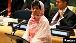 Malala Yousafzai, gives her first speech since the Taliban in Pakistan tried to kill her for advocating education for girls.