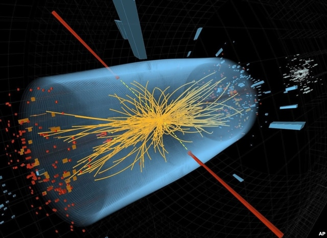 An undated image made available by CERN shows a typical candidate event in the search for the Higgs boson, including two high-energy photons whose energy (depicted by red lines) is measured in the CMS electromagnetic calorimeter. The yellow lines are the measured tracks of other particles produced in the collision. (AP/CERN)
