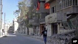 无国界医生组织提供的叙利亚阿勒颇现场视频截图(2016年10月5日)