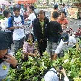 Masyarakat Surabaya antusias menerima pembagian bibit pohon untuk ditanam dalam peringatan Hari Pohon Sedunia (21/11).