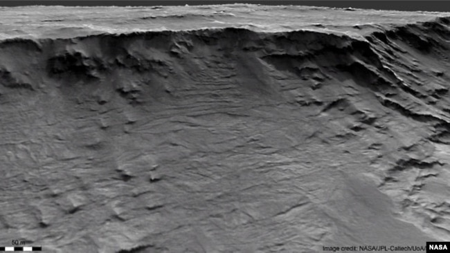 Geological formations are seen in sedimentary rock in the Hellas Basin on Mars. Researchers say these well-exposed channels are archived evidence of long-lived rivers active on the Martian surface over 3.7 billion yrs ago. (NASA/JPL-Caltech/UoA/Matt Balme/William)