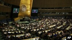 Tổng thư ký LHQ Ban Ki-moon phát biểu tại phiên họp thường niên lần thứ 69 của Đại hội đồng LHQ tại trụ sở LHQ, 24/9/2014.