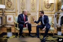 Predsednik SAD Donald Tramp sastaje se sa francuskim kolegom Emanuelom Makronom, u Jelisejskoj palati u Parizu, 10. novembra 2018.