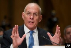 Retired Marine Corps Gen. John F. Kelly testifies during the Senate Homeland Security Committee hearing on his confirmation to be Secretary of Homeland Security on Capitol Hill, Jan. 10, 2017.