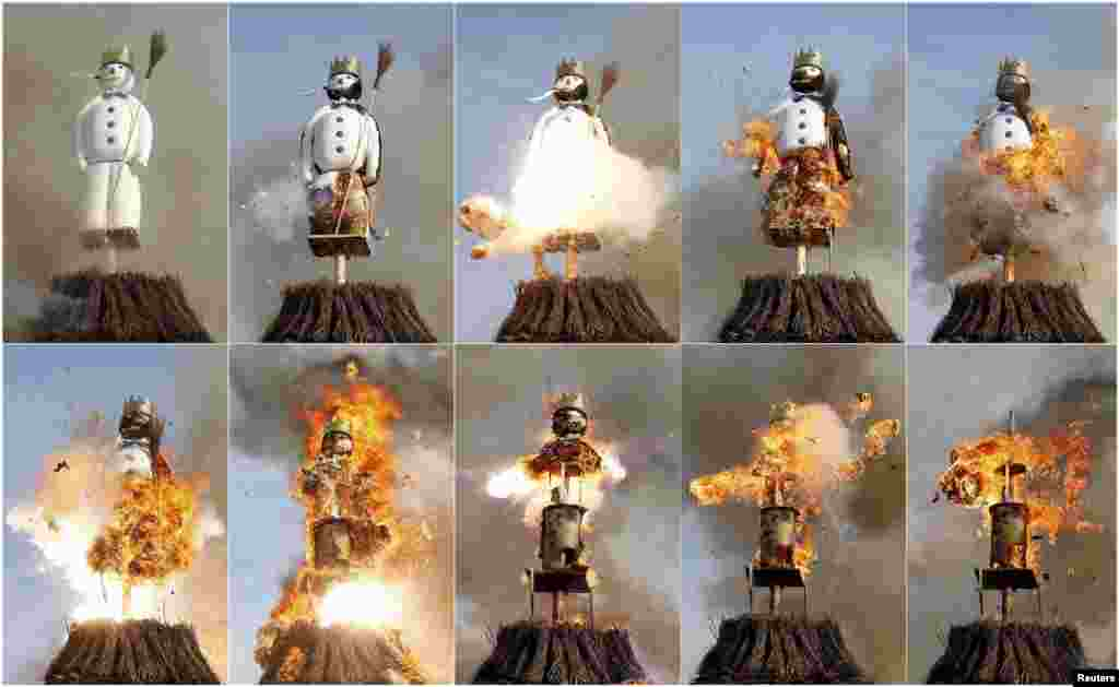 A combination of pictures shows the Boeoegg, a snowman made of wadding and filled with firecrackers, burning atop a bonfire in the Sechselaeuten square in Zurich, Switzerland, April 13, 2015.