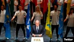 제프 블라터 국제축구연맹, 피파 회장이 28일 스위스 취리히에서 시작된 65회 피파 이사회에 개막 연설을 하고 있다.