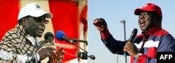 Zimbabwe president Robert Mugabe (at L) and Zimbabwe Prime Minister Morgan Tsvangirai (at R). Zimbabwe will hold general elections on July 31.