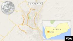 Peta wilayah Yaman dan ibukota Sana'a.