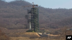 North Korea's Unha-3 rocket at the Sohae Satellite Station in Tongchang-ri, North Korea.