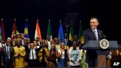 Obama akizungumza na vijana wa Yali.
