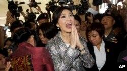 Cựu Thủ tướng Thái Lan Yingluck Shinawatra, tại Quốc hội ở Bangkok, ngày 22/1/2015. Hiện có những tin đồn là bà Yingluck có thể trốn ra nước ngoài để khỏi bị tù như anh của bà, ông Thaksin Shinawatra.