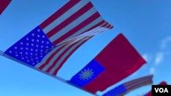 美國和台灣國旗(美國之音鍾辰芳拍攝)