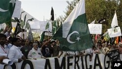 Pakistani protesters hold anti-U.S. rally over recent terror allegations, Sept. 28, 2011.