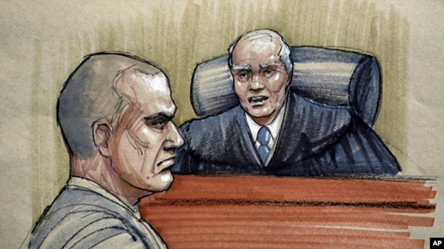 In this courtroom sketch, David Coleman Headley, 52 (l) is sentenced to 35 years in prison by U.S. District Judge Harry Leinenweber at federal court in Chicago, Jan. 24, 2013.