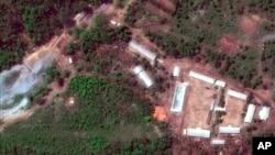 卫星照片显示的朝鲜西北部山区里的丰溪里试验场 (2018年5月23日)