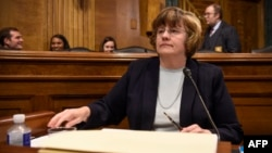 Rachel Mitchell, a prosecutor from Arizona, selected to question Supreme Court nominee Brett Kavanaugh and Christine Blasey Ford, the woman accusing Kavanaugh of sexually assaulting her at a party in the early 1980s, is seen before the U.S. Senate Judicia