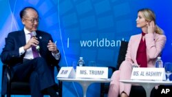 White House senior adviser Ivanka Trump accompanied by World Bank President Jim Yong Kim speaks at the forum Taking Women-Owned Business to the Next Level, on the sidelines of the World Bank/IMF Annual Meetings in Washington, Oct. 14, 2017.