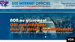 Page d'accueil du site internet de l'Union pour la démocratie et le progrès social (UDPS) en République démocratique du Congo le 12 mai 2016.