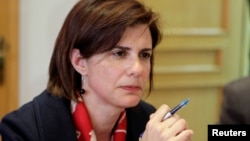 FILE - Raya Haffar al-Hassan speaks during a news conference in her office in Beirut, Apr. 5, 2010.