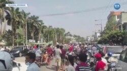 Myanmar'da Darbeyi Protesto Gösterisinde Silah Sesleri