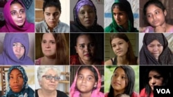 Worth of a Girl —grid of portraits of the 15 women who became child brides and the one who escaped.
