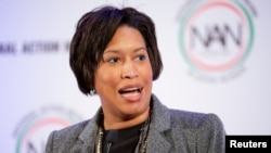 D.C. Mayor Muriel Bowser speaks at the Mayflower Hotel in Washington, Jan. 21, 2019. Bowser is backing Democratic presidential candidate Michael Bloomberg.