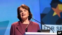 Sen. Dianne Feinstein, D-Calif., speaks at the 2018 California Democrats State Convention Saturday, Feb. 24, 2018, in San Diego.