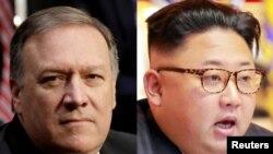 CIA အႀကီးအကဲ Mike Pompeo (၀ဲ)၊ ေျမာက္ကုိရီးယားေခါင္းေဆာင္ Kim Jong Un (ယာ)