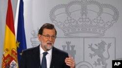 El presidente del Gobierno español, Mariano Rajoy, en el Palacio de la Moncloa en Madrid, España, el miércoles, 11 de octubre de 2017.
