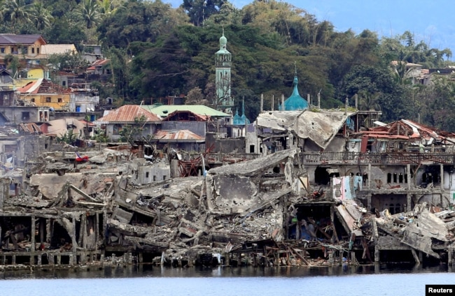 Damaged buildings in war-torn Marawi City, southern Philippines, Oct. 24, 2017, after the Philippines announced on Monday the end of five months of military operations in a southern city held by pro-Islamic State rebels.