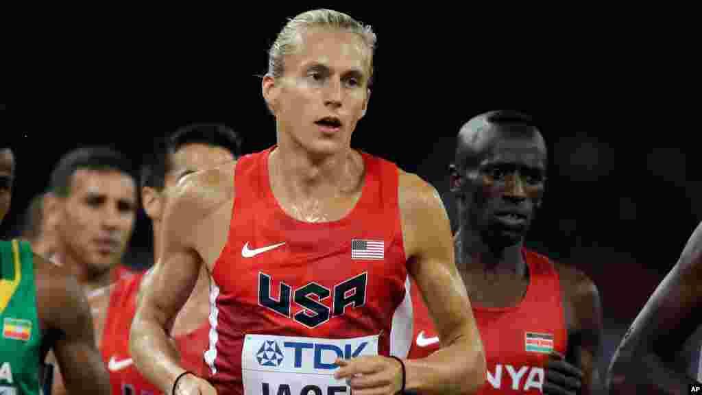 Evan Jager des Etats-Unis participe au 3000m steeple de la finale masculine aux Championnats du monde d'athlétisme au stade Nid d'oiseau à Pékin, 24 août 2015.