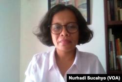Vivi Widyawati dari Perempuan Mahardika. (Foto: VOA/Nurhadi Sucahyo)