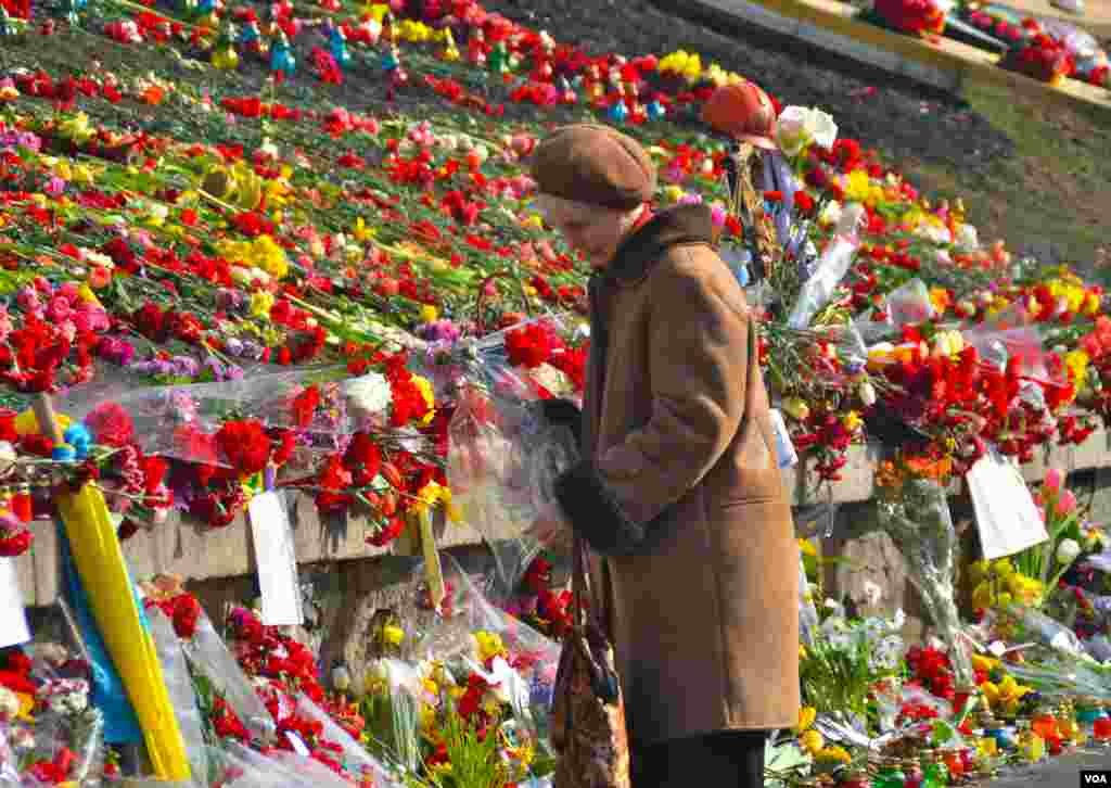 A woman places some flowers and reads the notes on flowers to the dead already laid in Kyiv's Independence Square, Ukraine, Mar. 8, 2014. (Jamie Dettmer/VOA)