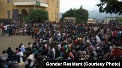FILE - Protesters are seen gathered in Gonder, in the Amhara region.