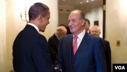 El Rey Juan Carlos de España durante su visita a la Casa Blanca en febrero pasado, donde fue recibido por el presidente Barack Obama, al cual invitó a visitar la nación ibérica.