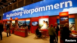 FILE - The booth of the German federal state of Mecklenburg-Vorpommern (Mecklenburg-West Pomerania) is pictured at the International Tourism Trade Fair ITB in Berlin, Germany, March 7, 2018.