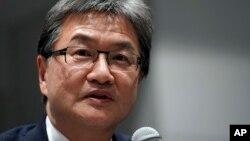 미국 국무부의 조셉 윤 대북정책 특별대표가 1일 일본 도쿄에서 기자회견을 하고 있다.