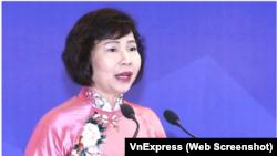 """Cựu thứ trưởng Bộ Công thương Hồ Thị Kim Thoa đang bị Công an Việt Nam truy nã quốc tế với cáo buộc """"tham nhũng"""". (Ảnh chụp màn hình VnExpress)"""